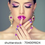 beautiful girl model with... | Shutterstock . vector #704009824
