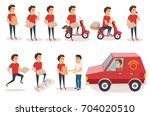 food delivery service. order... | Shutterstock .eps vector #704020510