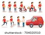 food delivery service. order... | Shutterstock .eps vector #704020510