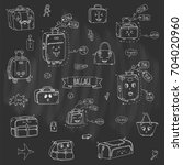 hand drawn doodle baggage with... | Shutterstock .eps vector #704020960