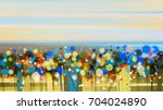 abstract floral oil color... | Shutterstock . vector #704024890