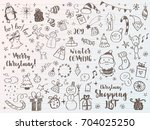 big set of christmas design... | Shutterstock .eps vector #704025250