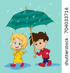girl walk and talk with a boy...   Shutterstock .eps vector #704033716