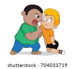 naughty kids bullying the weak... | Shutterstock .eps vector #704033719