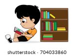 boy reading a book in the... | Shutterstock .eps vector #704033860