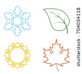 four colored icons with seasons. | Shutterstock .eps vector #704034118