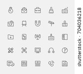 school object line icons vector ... | Shutterstock .eps vector #704036218