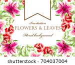 invitation with floral... | Shutterstock . vector #704037004