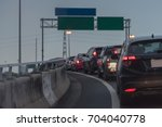 traffic jam with row of car on