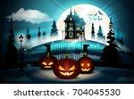 halloween pumpkins in graveyard ... | Shutterstock .eps vector #704045530