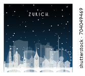 winter night in zurich. night... | Shutterstock .eps vector #704049469