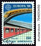 greece   circa 1988  a stamp...   Shutterstock . vector #704053450