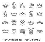 premium set of award line icons.... | Shutterstock .eps vector #704054959