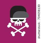 skull in baseball cap isolated .... | Shutterstock .eps vector #704058130