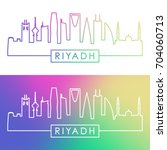 riyadh skyline. colorful linear ... | Shutterstock .eps vector #704060713