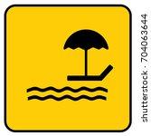 beach sign yellow. vector. | Shutterstock .eps vector #704063644