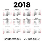 calendar for 2018 on white... | Shutterstock .eps vector #704065810