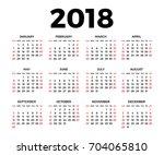 calendar for 2018 on white... | Shutterstock .eps vector #704065810