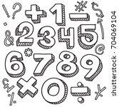 hand drawn  numbers sketch... | Shutterstock .eps vector #704069104