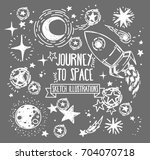 set of sketch stars  rocket ... | Shutterstock .eps vector #704070718