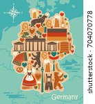map of germany with icons.... | Shutterstock .eps vector #704070778