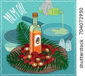 glass bottle of palm oil and... | Shutterstock .eps vector #704072950