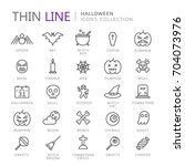 collection of halloween thin... | Shutterstock .eps vector #704073976