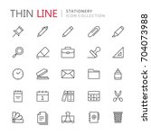 collection of stationery thin... | Shutterstock .eps vector #704073988