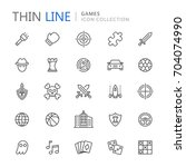 video game genres thin ine icons | Shutterstock .eps vector #704074990