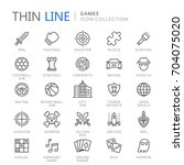 video game genres thin ine icons | Shutterstock .eps vector #704075020