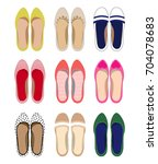 picture of female summer shoes... | Shutterstock .eps vector #704078683