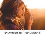 beautiful fashion model posing... | Shutterstock . vector #704080546