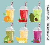 cartoon smoothies. orange ... | Shutterstock .eps vector #704088958