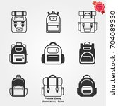 backpack icons vector | Shutterstock .eps vector #704089330