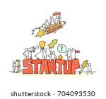 sketch of working little people ... | Shutterstock .eps vector #704093530
