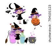 halloween witch set  cute vector | Shutterstock .eps vector #704101123