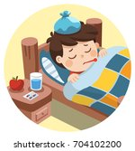 sick cute boy sleep in bed with ... | Shutterstock .eps vector #704102200