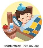 sick cute boy sleep in bed with ... | Shutterstock .eps vector #704102200