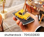 smartphone application of taxi... | Shutterstock . vector #704102830