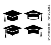 black square graduation hat... | Shutterstock .eps vector #704105368