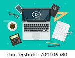 education online via laptop... | Shutterstock .eps vector #704106580