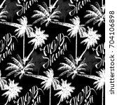 seamless monochrome tropical... | Shutterstock .eps vector #704106898