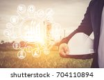 engineering man with safety... | Shutterstock . vector #704110894