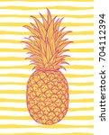 hand drawn decorative pineapple.... | Shutterstock .eps vector #704112394