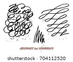 set of hand drawn ink pen... | Shutterstock .eps vector #704112520