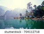 beautiful mountains lake river... | Shutterstock . vector #704112718