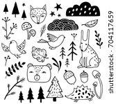 forest set. animals  bear  fox  ... | Shutterstock .eps vector #704117659