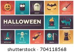 halloween   set of modern... | Shutterstock .eps vector #704118568