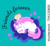 cute dreaming unicorn with baby ... | Shutterstock .eps vector #704120800
