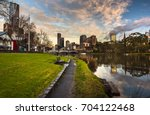 early morning reflections river ... | Shutterstock . vector #704122468